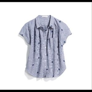 SHORT-SLEEVE LRG COTTON STRIPED BUTTON DOWN BLOUSE